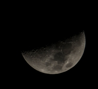 Moon on 22nd at 20:18:25 (backyard in New Bern) 41% visible 1st quarter ISO 200 f/8 1/250s 300mm