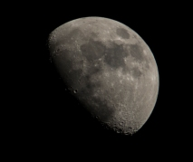 Moon 1st quarter 64% visible on 24th at 18:18:08 ISO 200 f/8 1/200s 300mm