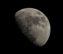 Moon 1st quarter 64% visible on 24th at 18:19:04 ISO 200 f/8 1/200s 300mm