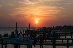 Sunset in Morehead City near bridge crossing Bogue Sound at 19:05:39 ISO 125 f/8 1/100s