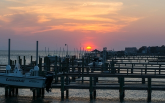 Sunset in Morehead City near bridge crossing Bogue Sound at 19:11:56 ISO 125 f/8 1/15s