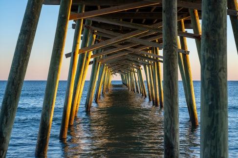 Emerald Isle Fishing Pier before sunset at 18:04:29 Shutter Speed: 1/50 Aperture: f/3.4 ISO: 100