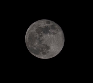 Full Moon (100% full) Taken on: May 7 at 22:05 Shutter Speed: 1/250 Aperture: f/11 ISO: 250 Focal Length: 300
