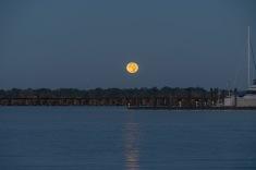 Moon setting taken at 07:09 in Bridgeton, NC Shutter Speed: 1/13 Aperture: f/7 ISO: 400 Focal Length: 185mm
